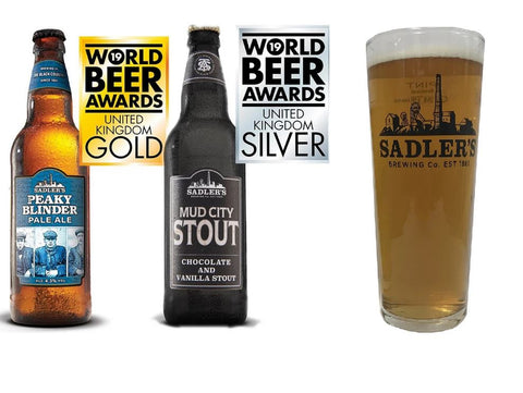 6 Different Sadler's 500ml Beers and 6 Sadler's Pint Glasses for £15
