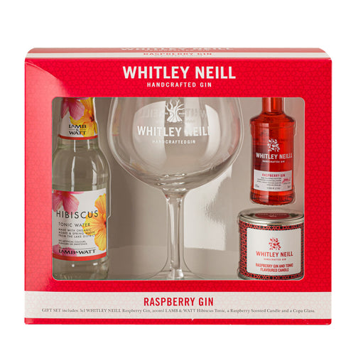 Whitley Neill Raspberry Gin, Candle, Copa Glass and Lamb & Watt Hibiscus tonic