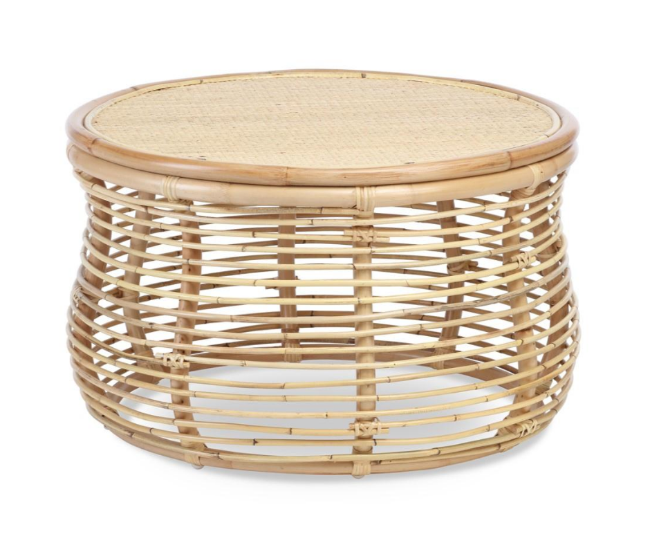 cane natural woven coffee table
