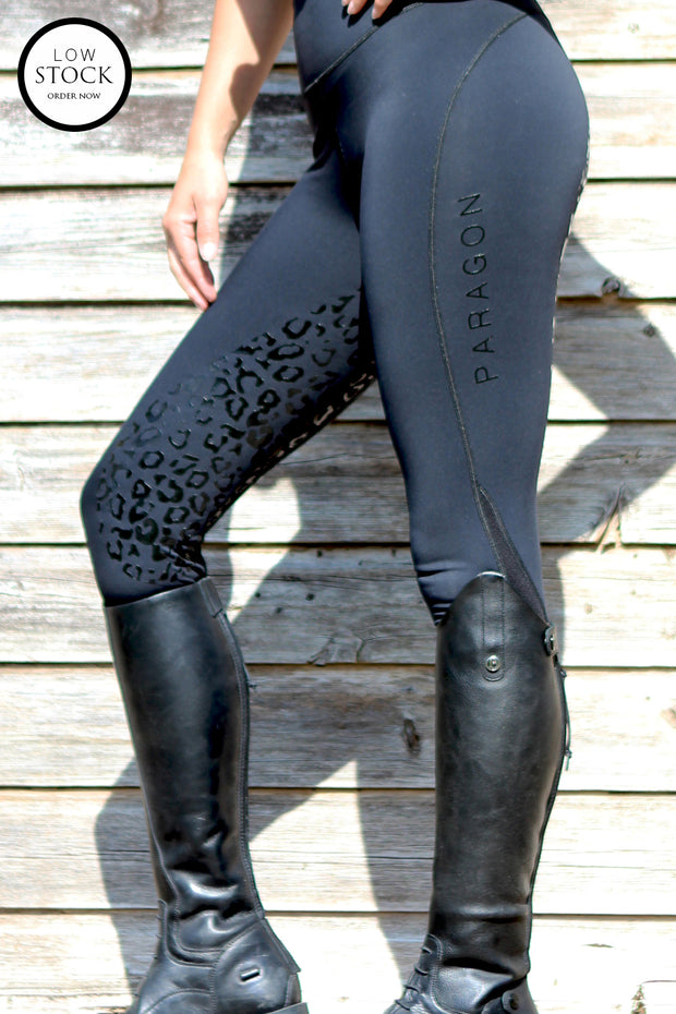 Leopard Technical Riding Leggings - Black