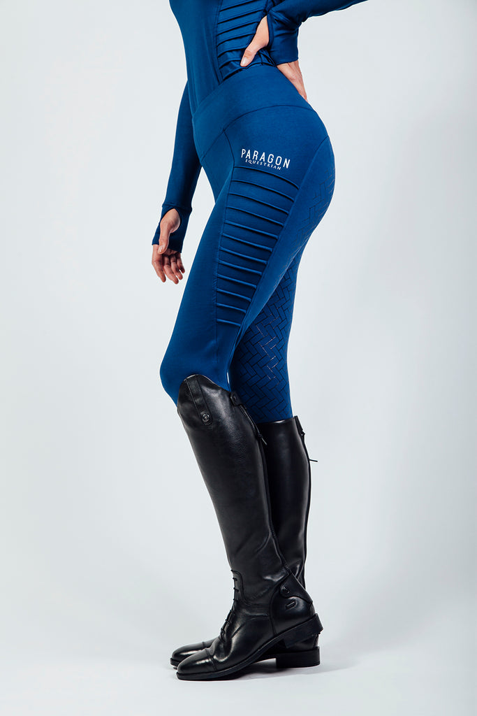 PIN TUCK RIDING LEGGINGS - COBALT BLUE