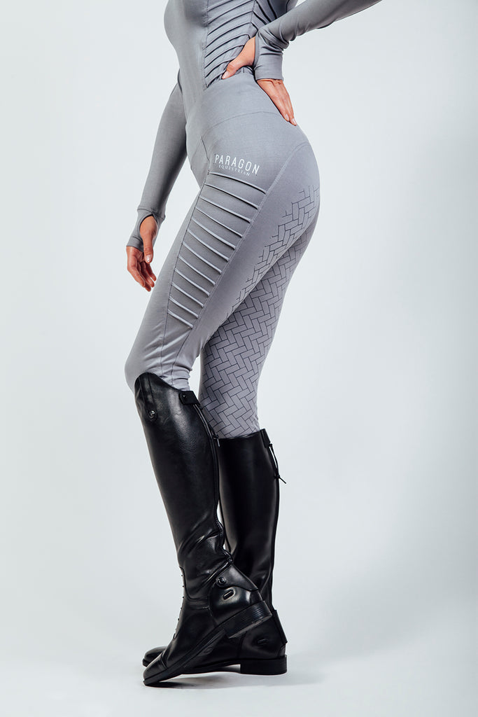 PIN TUCK RIDING LEGGINGS - PLATINUM