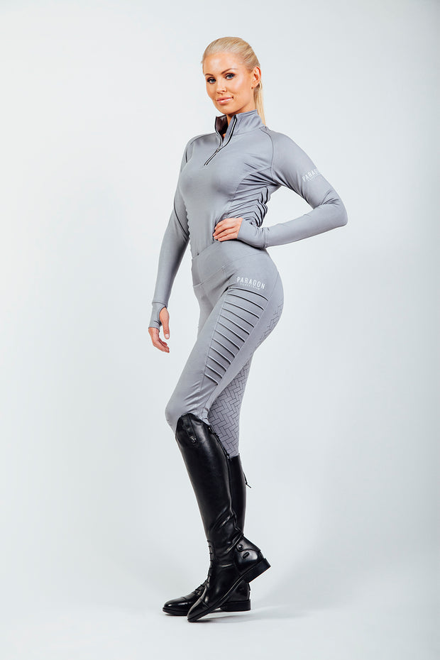 Horse Riding Leggings, Technical Riding Leggings in Silver Grey