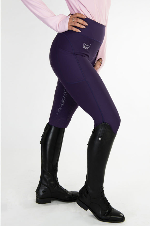 Crown Technical Riding Leggings - Aubergine