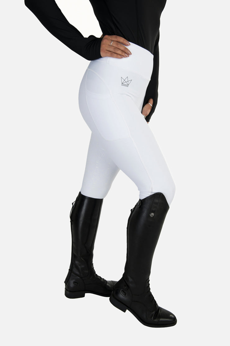 Crown Technical Riding Leggings - White