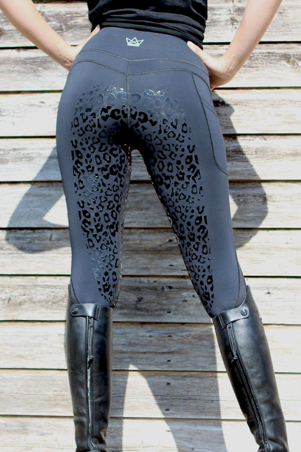 PRE-ORDER Leopard Technical Riding Leggings - Black