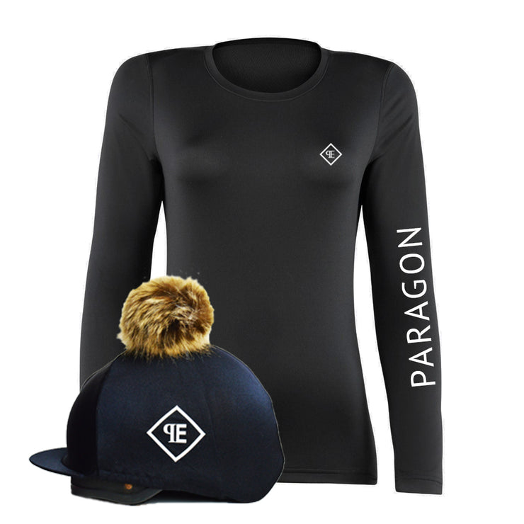 Luxe Sport Base Layer with Faux Fur Pom Pom Silk - Black