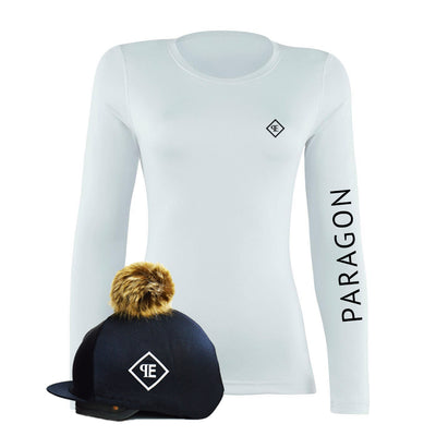 Luxe Sport Base Layer with Faux Fur Pom Pom Silk - Black/White