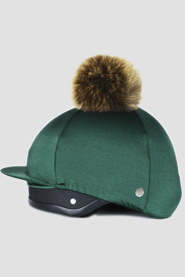 Green hat silk with Faux Fur pom pom