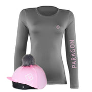 Luxe Sport Base Layer with Faux Fur Pom Pom Silk - Grey/Baby Pink