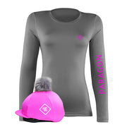 Luxe Sport Base Layer with Faux Fur Pom Pom Silk - Grey/Hot Pink