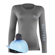 Luxe Sport Base Layer with Faux Fur Pom Pom Silk - Grey/Ice Blue