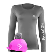 Luxe Sport Base Layer with Faux Fur Pom Pom Silk - Grey