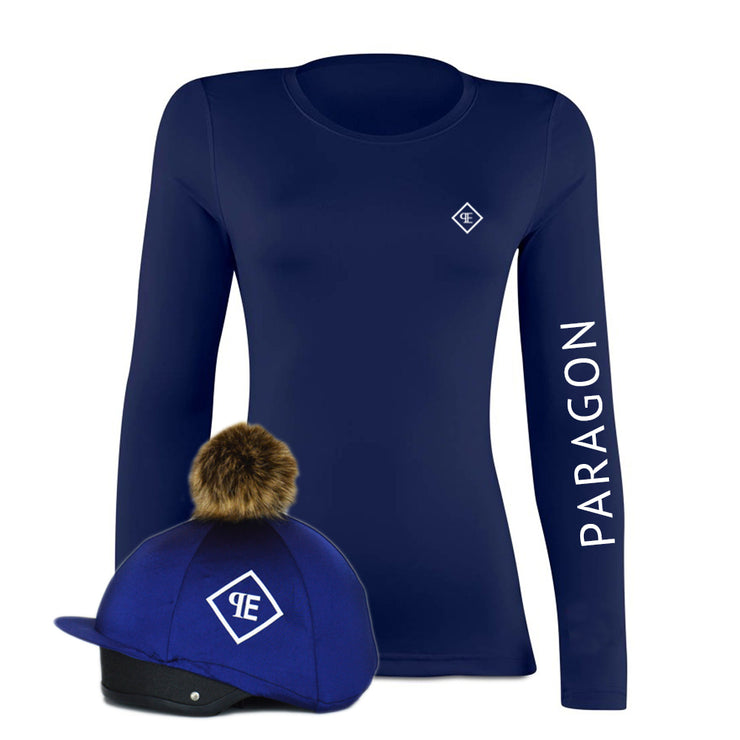 Luxe Sport Base Layer with Faux Fur Pom Pom Silk - Navy