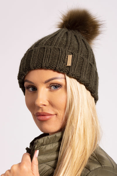 Cable Knit Bobble Hat - Olive
