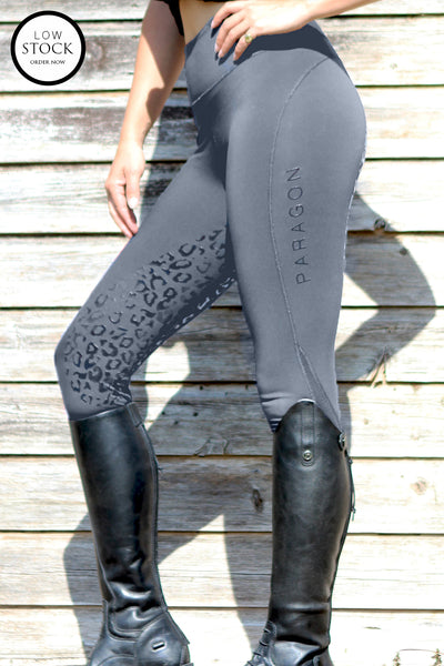 Leopard Technical Riding Leggings - Slate grey