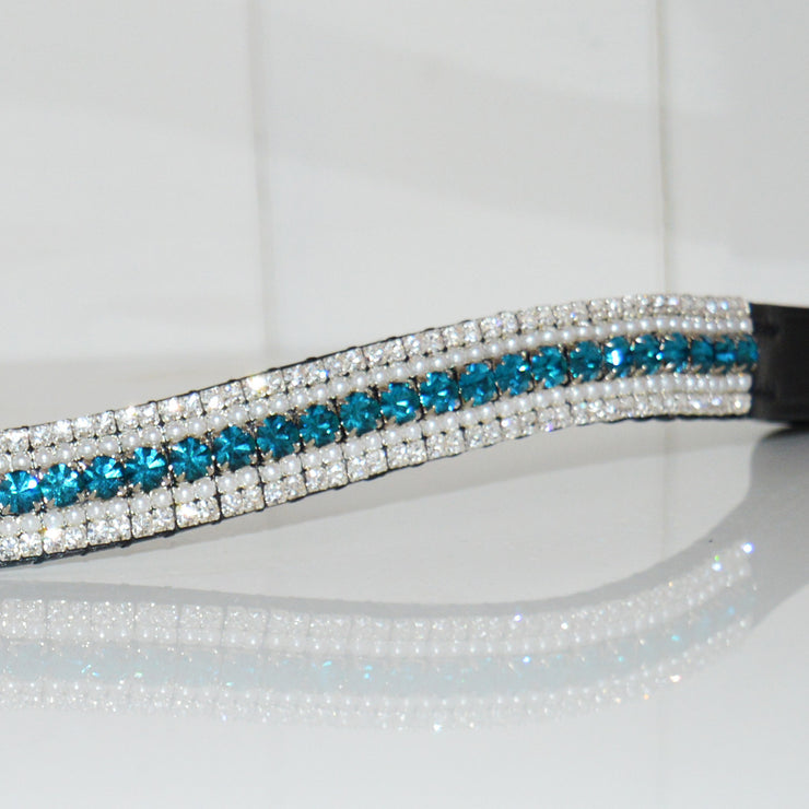 Turquoise, Pearl and Clear Megabling Browband