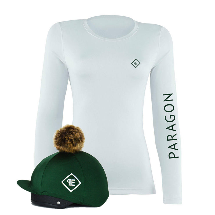 Luxe Sport Base Layer with Faux Fur Pom Pom Silk - White/Bottle Green