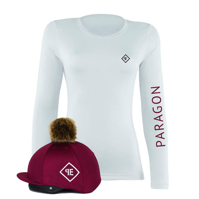 Luxe Sport Base Layer with Faux Fur Pom Pom Silk - White/Burgundy