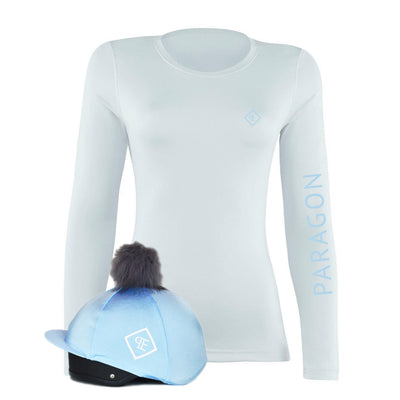 Luxe Sport Base Layer with Faux Fur Pom Pom Silk - White/Ice Blue