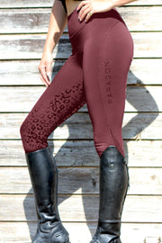 Leopard Technical Riding Leggings - Wine