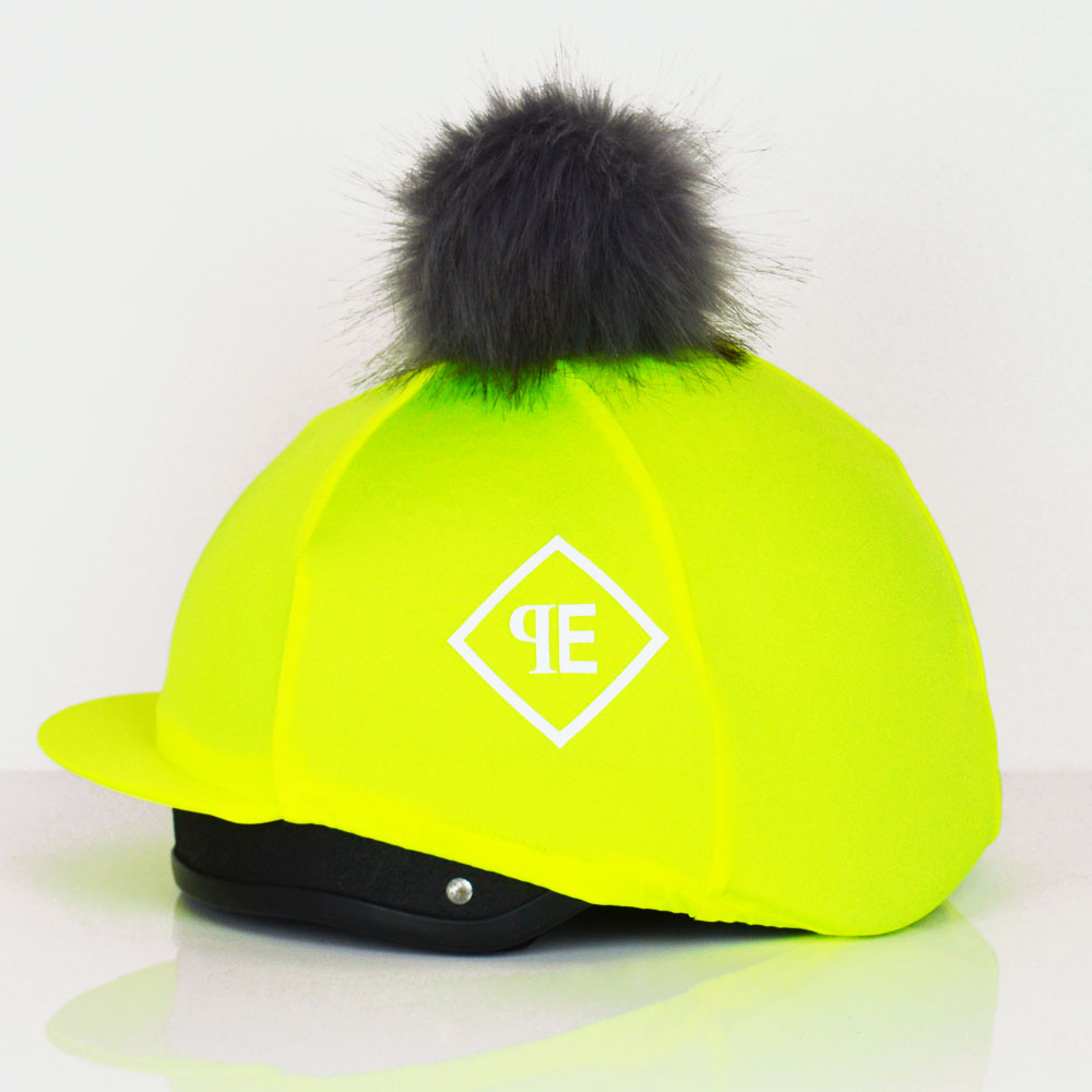 Luxe Faux Fur Pom Pom Silks - Fluorescent Yellow/Grey Pom Pom