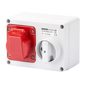 GEWISS INTERLOCKED HORIZONTAL SOCKET-OUTLET - 3P+E 16A 400V - IP44