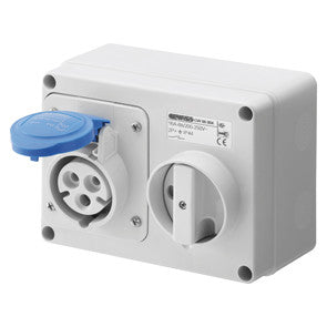 GEWISS INTERLOCKED HORIZONTAL SOCKET-OUTLET - 2P+E 32A 230V - IP44