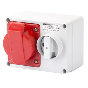 GEWISS INTERLOCKED HORIZONTAL SOCKET-OUTLET - 3P+E 32A 400V -IP44