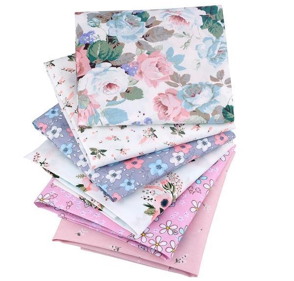 "6pcs Floral ""Extra Fat"" Fat Quarter Cotton Fabric"
