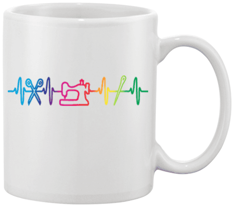 Sewing Heartbeat Mug - I Love Quilting Forever