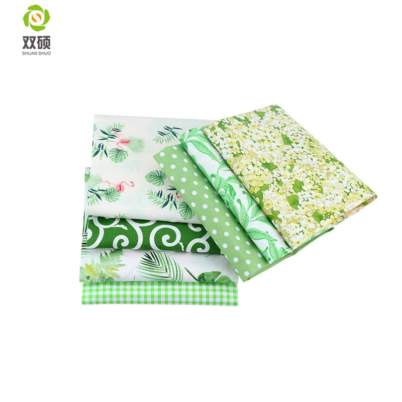 "7pcs Green ""Extra Fat"" Fat Quarter Cotton Fabric"