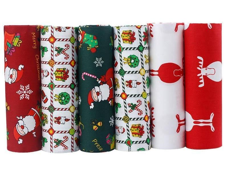 "6pcs Christmas ""Extra Fat"" Fat Quarters Cotton Fabric"