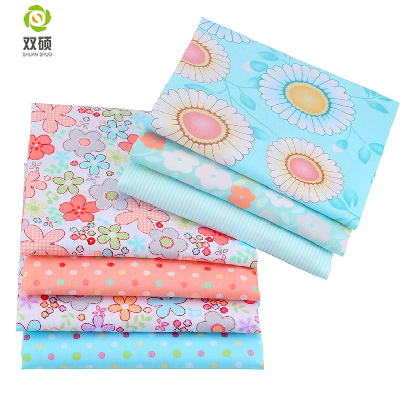 "7pcs Floral Blue ""Extra Fat"" Fat Quarter Cotton Fabric"