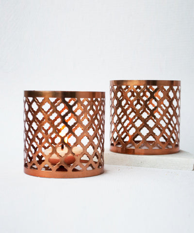 Mugal Copper Tea Light Holder