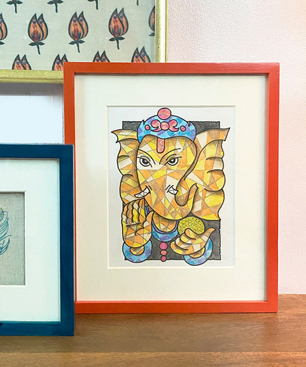 The Yellow Ganesha Wall Art