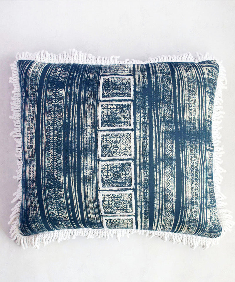 Indigo Scriptures Cushion Cover
