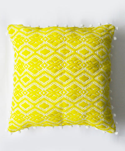 Citrus Lime Pom-Pom Cushion