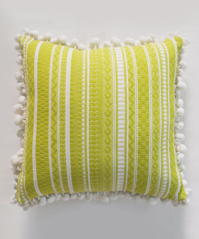 Live Green Pom Pom Cushion
