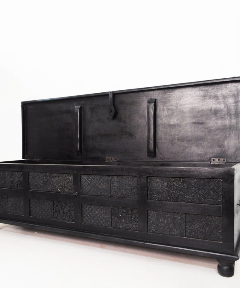 Coal Carved Chest / Coffee Table