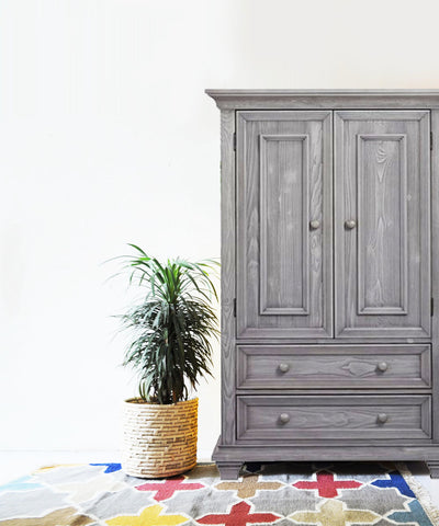 Grey Distressed armoire / dresser