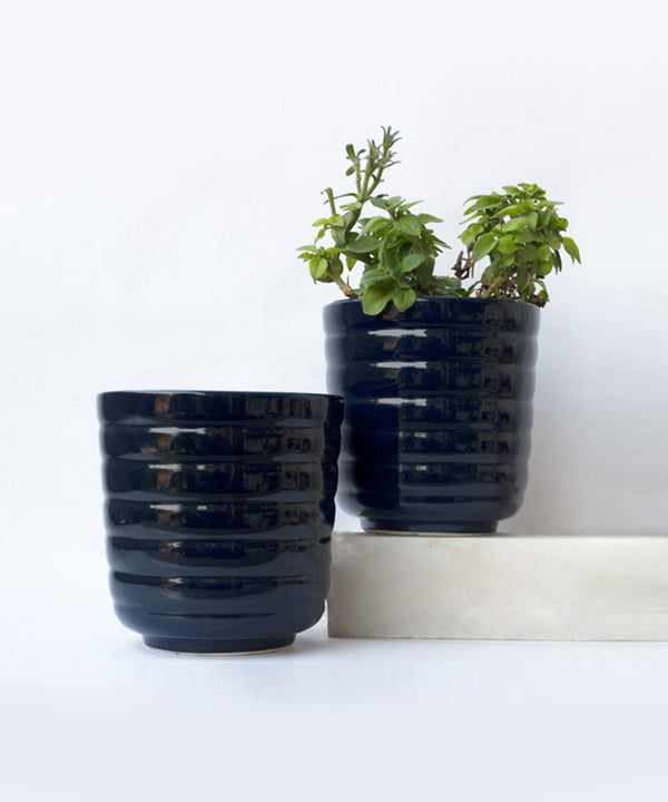 Midnight Black Barrel Planter