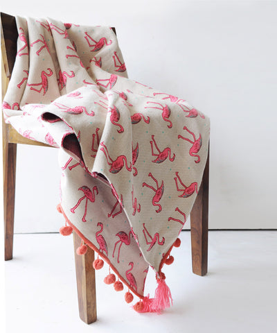 Pop up Flamingo Throw Blanket
