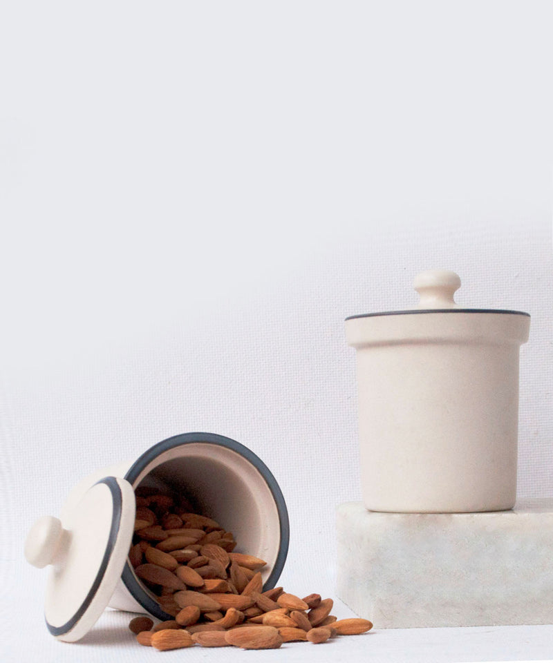 Textured Lid Ceramic Jar