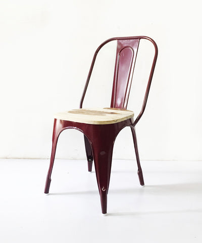 Hallie Metal & Wood  Burgundy Chair