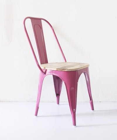 Hallie Metal & Wood  Pink Chair