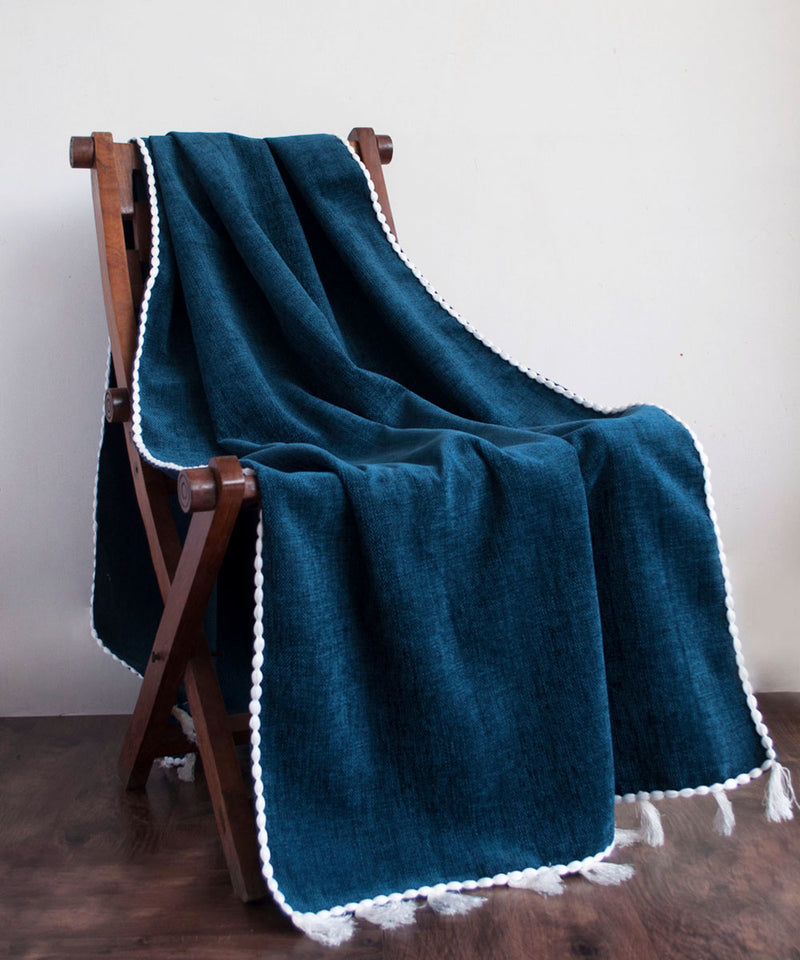 Indigo Tasseled Throw