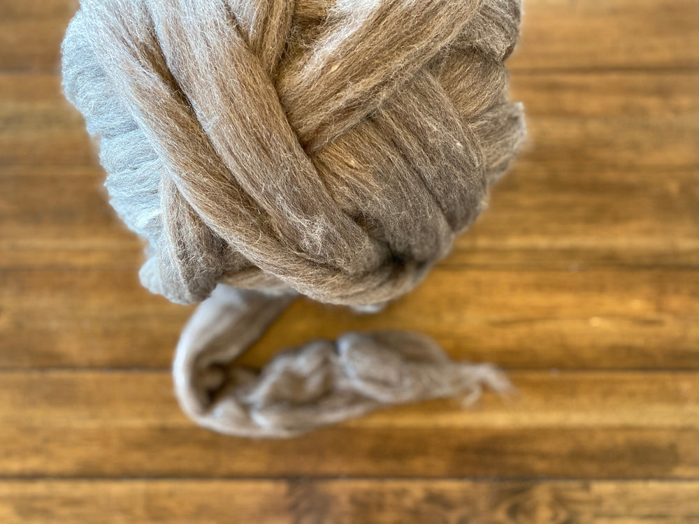 Brown Blue Faced Leicester Combed Top (1 oz quantities)