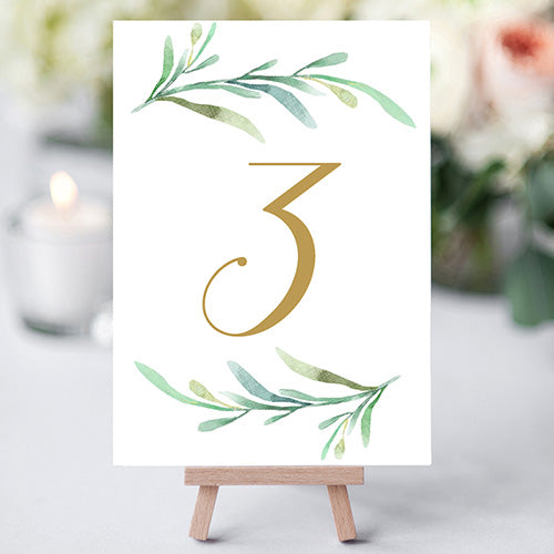 Free Printable Table Numbers, Greenery Wedding