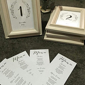 Rustic table numbers and table menus by Anthea!